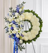 Serene Blessings™ Standing Wreath- Blue & White