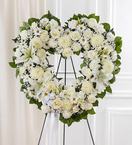 Always Remember™ Floral Heart Tribute- White